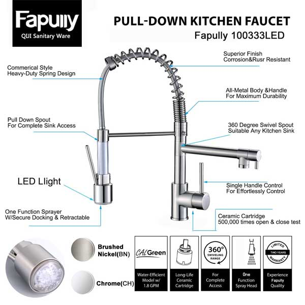 Special Features of the Fapully 100333LED Kitchen Faucet