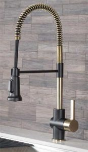 Kraus Black and Gold Kitchen Faucet
