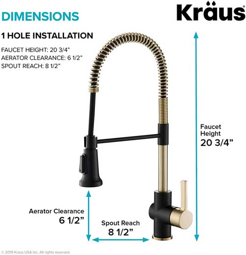 Kraus Kitchen Faucet Dimensions (Black and Gold Version)