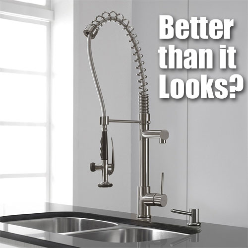 Commercial Kraus Pre-Rinse Faucet in Residential Kitchen, Stainless Steel Finish, Model KPF-1602SS