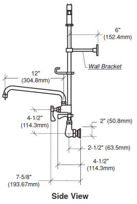 Krowne Pre-Rinse Wall Faucet Side View Diagram & Measurements