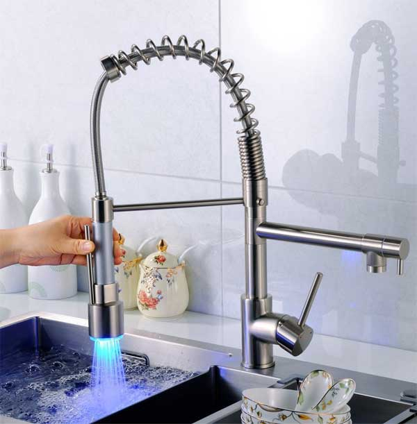 Fapully Thermal LED Kitchen Faucet with Coiled Pull-Down Spring Spout