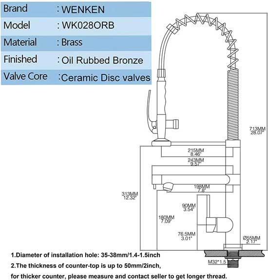 Wenken Faucet Dimensions for Installation on Kitchen Sink
